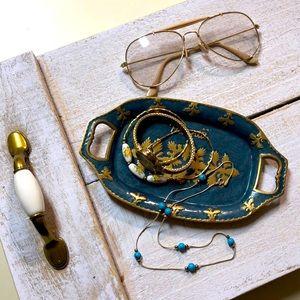 Brass Metal Teal Color Hawaii Stamp tray Dish